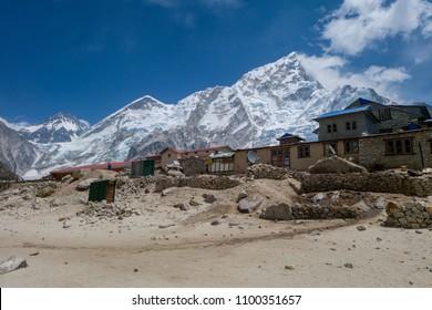 Gorak Shep/Nepal - APR 14 2017 : Gorak Shep village and Nuptse mt.