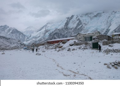 Gorak Shep/Nepal - APR 14 2017 : Gorak shep village is covered by snow and cloud