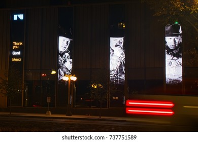 Gord Downie, 53, the front man of the Tragically Hip, passed away Oct. 18, 2017. Taken on morning of Oct. 19, 2017 showing memorial images lit up outside the National Arts Centre (NAC) in Ottawa, ON.