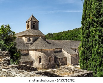Gordes, France - June 25, 2019: Abbaye de Senanque with newly planted lavender fields.