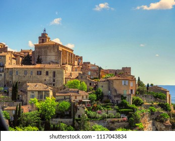 Gordes / France - May 13 2014: View of Gordes, France from the road in and out of the town