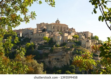 Gordes, France-06 17 2015: View of the hilltop village of Gordes, which is a commune in the Vaucluse département in the Provence-Alpes-Côte d'Azur region in southeastern France.