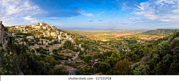 Gordes medieval village panorama sunset view, France