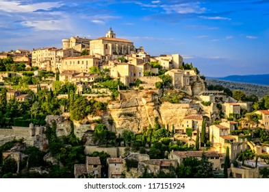 Gordes medieval village sunset view, France