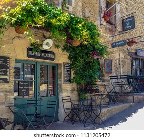Gordes, Provence / France - May 13 2014: Creperie on the road into Gordes, Provence
