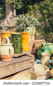 Gordes, Provence-Alpes-Cote d'Azur, France, September 25, 2018: Pottery by Masters of the Luberon - Traditional Provence Farmers Market