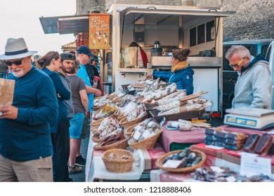 Gordes, Provence-Alpes-Cote d'Azur, France, September 25, 2018: Butcher Shop - Traditional Provence Farmers Market