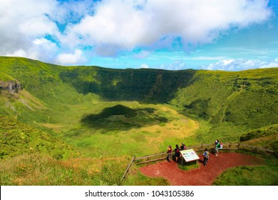 Cabeço Gordo, Faial Island, Azores, Portugal - 07/25/2015: tourists watching at the caldera on Faial Island
