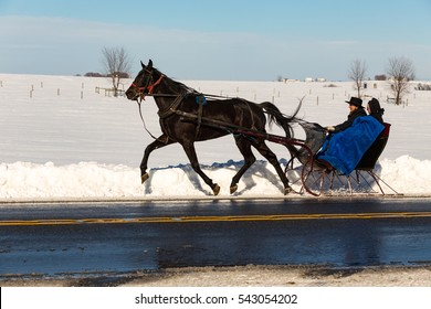 Gordonville, PA - January 24, 2016: The Amish in Lancaster County use a one-horse open sleigh for transportation when necessary.