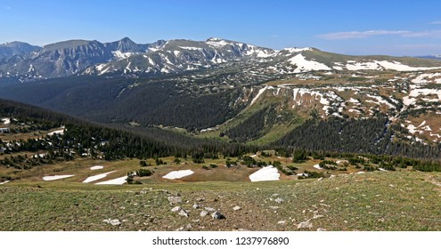 The Gore Range and the continental divide, shot just off of the Trail Ridge Road in Rocky Mountain National Park, Colorado.  The two prominent mountain peaks in the background Mt. Julian and Mt. Ida.