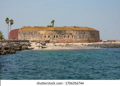 GOREE ISLAND, DAKAR, SENEGAL - NOVEMBER 12, 2019: Slavery fortress on Goree island, Dakar, Senegal. West Africa.