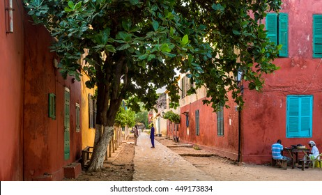 Goree Island, Senegal - Nov 08: Residents of Goree Island live in the historical buildings from the early 19th century. Goree Island, Senegal Nov 08, 2013.