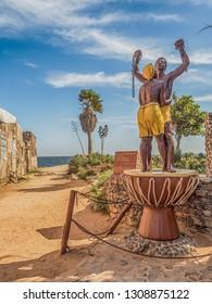 Goree, Senegal- February 2, 2019: Slavery Freedom Monument at the Maison des Esclaves Memorial,Gorée island. Dakar, Senegal. Africa.