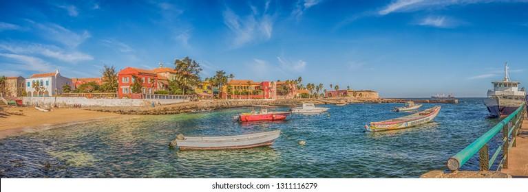 Goree, Senegal- February 2, 2019: Panoramic view of colorful houses on the island Goree. Gorée. Dakar, Senegal. Africa.