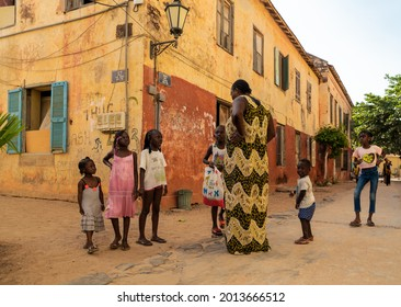 GOREE, SENEGAL - JULY 24, 2021: Colorfull streets of Goree island, Dakar, Senegal. Island is known for its role in the 15th- to 19th-century Atlantic slave trade.