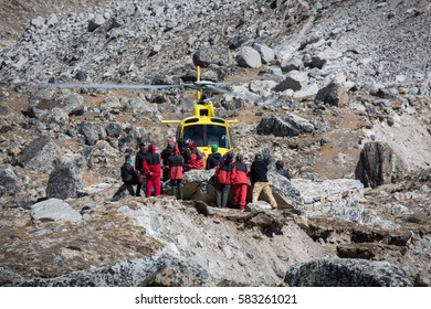 Gorek Shep, Nepal - October, 15, 2016: A helicopter prepares to take off high in the Himalayan mountains near Everest Base Camp, leaving Gorek Shep for the Lukla Airport in Nepal.