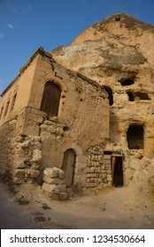 Goreme, Cappadocia, Turkey: Famous cave hotels in Goreme. Beautiful panorama of the city.