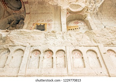 Goreme, Cappadocia, Turkey - October 08, 2018: Exterior of dark church at Goreme Open air museum in Cappadocia