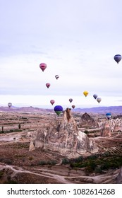Goreme, Cappadocia / Turkey - October 25, 2015: Panoramic view of Cappadocia. Cappadocia is known around the world as one of the best places to fly with hot air balloons.