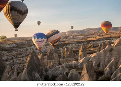 Goreme, Cappadocia, Turkey - October 31, 2018: hot air balloons in Goreme Cappadocia