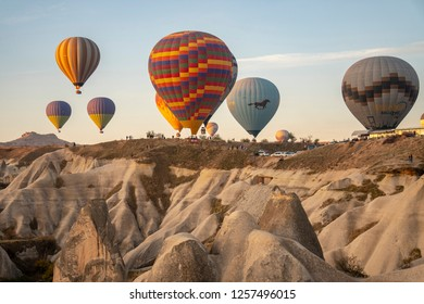 Goreme, Cappadocia, Turkey - October 31, 2018: hot air balloons in Goreme Cappadocia