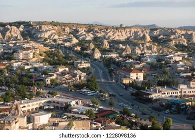 Goreme, Kapadokya / Turkey - 21 June 2017: Central street of the Goreme city with bus station