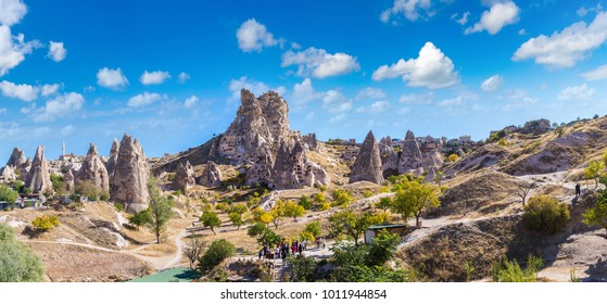 Goreme - open air museum, Cappadocia, Turkey in a beautiful summer day