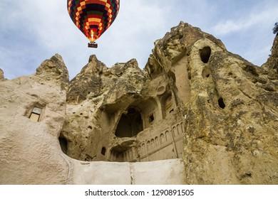 Goreme park in Turkey. Hot air balloon, open air museum, Cappadocia