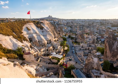 Goreme Town night view from hill in Cappadocia Region Of Turkey.