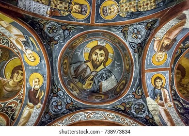 GOREME, TURKEY - APRIL 10, 2010 : A beautiful fresco showing Christ Pantocrator at the Karanlik Kilise (Dark Church) at the Open Air Museum at Goreme in Cappadocia in Turkey.