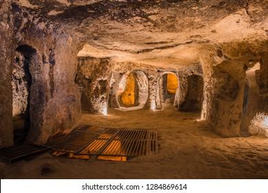 Goreme, Turkey - April 12, 2017: Explore Kaymakli ancient multi-level underground cave city in Cappadocia, Travel to Turkey.