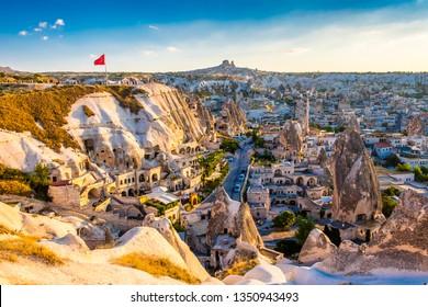 Goreme, Turkey - July 03, 2018 : Goreme Town view from hill in Cappadocia Region Of Turkey.