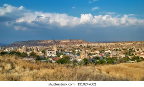 GOREME, TURKEY - JULY 28, 2007: View to Goreme town in Cappadocia. It is the center of Goreme national park listed as UNESCO World Heritage since 1985