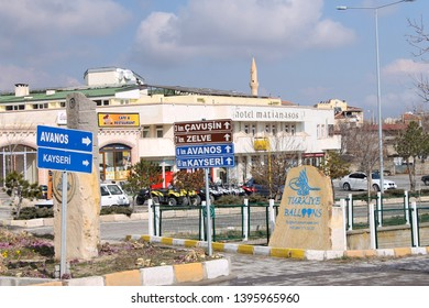Goreme, Turkey; March 2 2015: Streets with traffic signals and signs in Goreme, Cappadocia, Turkey.