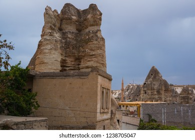 GOREME, TURKEY: Old rocks that serve as houses and hotels for tourists. Goreme is town in Cappadocia, Nevsehir Province, Central Anatolia, Turkey.