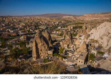 GOREME, TURKEY: panoramic view of modern residential district in Goreme town. Goreme is town in Cappadocia, Nevsehir Province,Central Anatolia, Turkey.