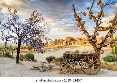 Goreme, Turkey - September 23, 2015: Tree Of Wishes with clay pots in Cappadocia. Nevsehir Province, Cappadocia, Turkey