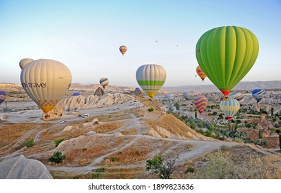Goreme, Turkey - September 29: Air baloons in the sky of Cappadocia, Turkey on September 29, 2020.