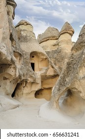 Goreme village, Turkey. Rural Cappadocia landscape. Stone houses of Cappadocia. Sunny Goreme. Countryside lifestyle of Cappadocia, Turkey