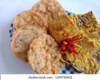 Gorengan or popular Indonesia snacks, variety of any kind food : tempeh, tofu, wheat flour, vegetables more enjoyable with cayenne pepper.