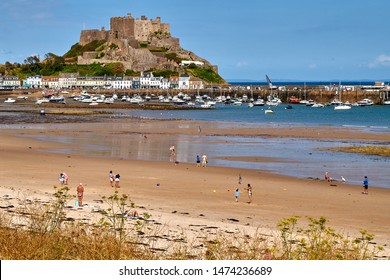 Gorey, or Mont Orgeuil castle in Jersey, Channel Islands, with a view across Grouville Bay