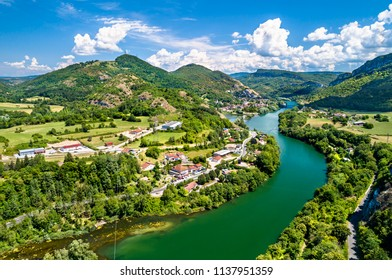 The gorge of the Ain river in France