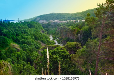 Gorge of the Arpa River. View of the mountains, the river and the blue sky. The city of Jermuk, Armenia.