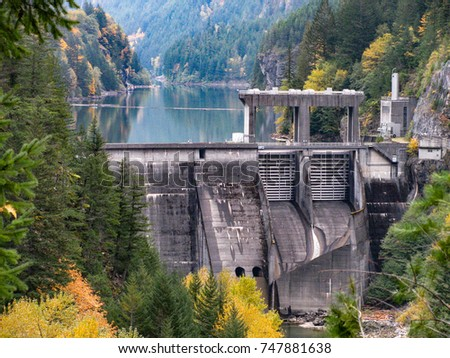 Gorge Dam on the Skagit River in northern Washington, USA, forms Gorge Lake in North Cascades National Park and provides hydroelectric power to Seattle.