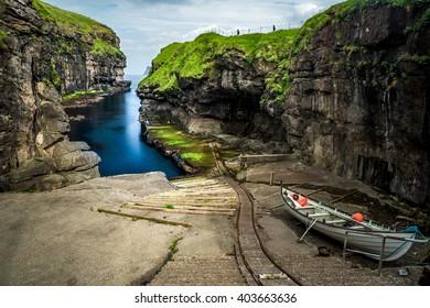 Gjógv gorge harbour, Faroe Islands