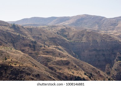 Gorge in the mountains. Mountain landscapes of peaks and ridges of Armenia.
