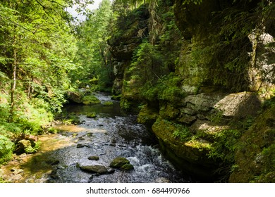 Gorge of the River Kamenice - Bohemian Switzerland. Popular touristic destination in Czech Republic.