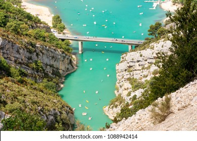 Gorge of the Verdon,France-august 11,2016:view from above  of the view over the Verdon gorge in France during a summer day