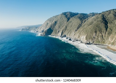 Gorgeous aerial landscape of cliffs and the pacific ocean