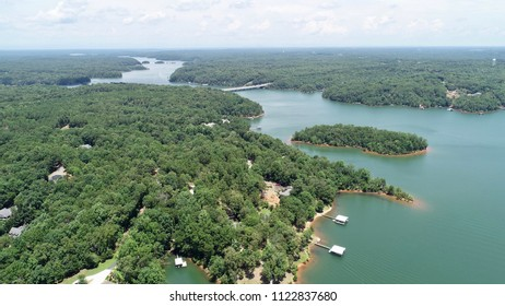 Gorgeous aerial view of Hartwell Lake on a summer day. This body of water almost has a green hue when viewing from above!